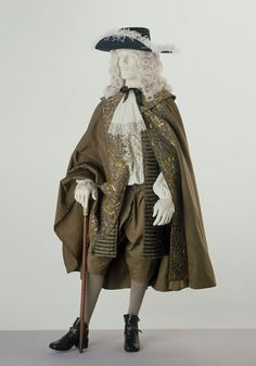 "1680 English Coat and breeches at the Victoria and Albert Museum, London - From the curators' comments: ""In Britain in the 1660s a new style of formal day wear was introduced for men. It replaced the doublet and petticoat breeches....Men now wore a long, fairly tight-fitting coat reaching to the knee. The breeches accompanying the new coat were much more closely fitting than previous ones."""