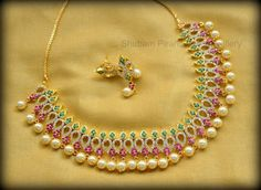 CZ short necklace in multi color with pearldropsPrice : 2400 /- InrFor Order : Whatsapp 21 February 2017 Short Necklace, Simple Necklace, Collar Necklace, Necklace Set, Pearl Necklace, Indian Gold Necklace Designs, Indian Jewelry, Ruby Jewelry, Bridal Jewelry
