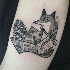 I need to rule out the number of fox tattoos I love as I'd only want to have one fox on my body, but there's so many out there that I love. Really like the quirky style of this one.
