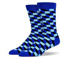 Blue Black 3D Square Socks