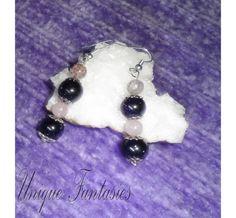 Raspberry quartz earrings with rose quartz and by UniqueFantasies