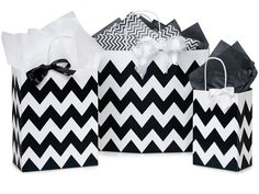 Black Chevron Shopping Bags by Nashville Wraps made from 100% recycled white kraft paper.