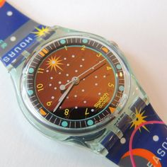 Vintage Swatch Watch Planetarium SRG 100 Solar by CoolRelics Cool Watches, Rolex Watches, Watches For Men, Vintage Swatch Watch, Solar Watch, Cute Little Things, Plastic Storage, Peter Pan, Fashion Watches