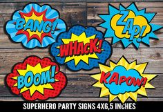INSTANT DOWNLOAD Superhero Signs 4 x 6,5 - Printable party decorations, Word bubbles - Power Bursts - Super Hero Birthday party