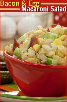 This macaroni salad loaded with crumbled bacon, hard-boiled eggs, and crunchy celery is a great addition to your Easter side dish spread.