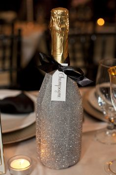 Silent Auction - Champagne/Sparkling wine with gold sparkle & glitter