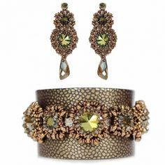 Juwelina - Designer Schmuck-Set mit Swarovski Kristallen in Grün-Bronze Metallic