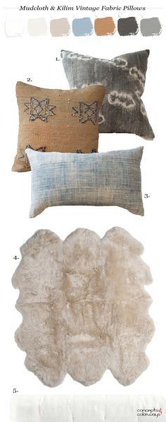 copper and blue, vintage, vintage fabric, mudcloth, kilim, faded indigo, slate blue, copper brown, charcoal grey, ivory, light tan, sheepskin, pillow set, pantone coconut milk, pantone sharkskin