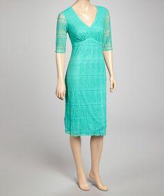 Aqua Zigzag V-Neck Dress