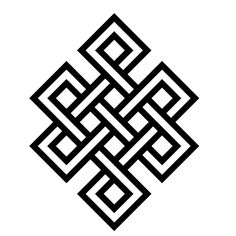 """dopatonin: """" The Endless Knot One of the eight sacred emblems of Tibetan Buddhism, this geometry forms ten enclosures and symbolizes the endless cycle of death and rebirth until illumination. (The core Buddhist insight underlying this symbol is:..."""