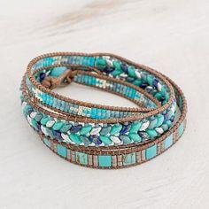 Lines of Hope Handmade Glass Beaded Wrap Bracelet in Blue from Guatemala Sea Glass Jewelry, Crystal Jewelry, Glass Beads, Glass Bottles, Beaded Wrap Bracelets, Loom Bracelets, Ankle Bracelets, Friendship Bracelets, Bangles