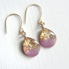 radiant orchid teardrop earrings on 14k gold fill by tinygalaxies
