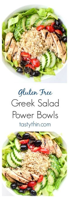 Greek Salad Power Bowls - Tons of protein and fresh Greek flavors make this recipe a perfect one dish meal or make ahead lunch! | http://tastythin.com