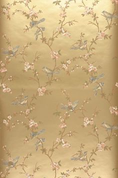 Wallpaper Thelma (Pearl gold, Blue Green, Brown beige, Salmon orange, Reed green) | Wallpaper from the 70s Green Wallpaper, Flower Wallpaper, Pattern Wallpaper, Gold Chinoiserie Wallpaper, Papier Paint, Tapete Gold, Art Deco Bedroom, Wall Murals, Wall Art