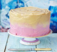 This stunning layer cake with coloured cream cheese frosting is perfect for a birthday, wedding or other special occasion