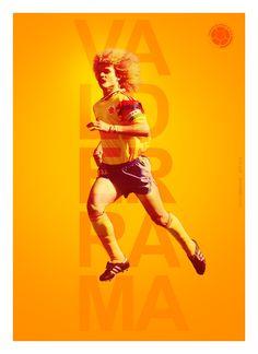 A poster of Colombia Legend Carlos Valderrama Football Is Life, Football Art, Carlos Valderrama, Soccer Poster, Good Soccer Players, Tigger, Real Madrid, Classic, Digital Art
