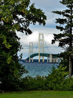 Mackinac Bridge as seen from the grounds of Fort Michilimackinac, Mackinaw City MI