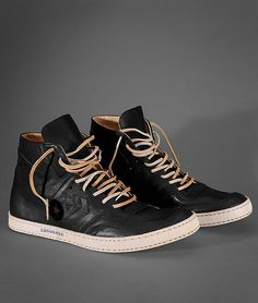 John Varvatos Converse, Black Leather High top with Raw Leather Laces. Men's Fall Winter  Fashion