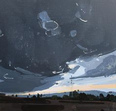 North Gap, Original Spring Sunset Landscape Painting on Panel, Stooshinff