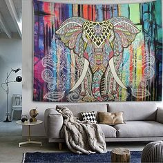 Colorful Elephant Tapestry Elephant Boho Tapestry Beach