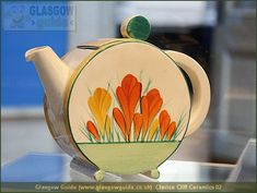 Clarice Cliff Bon Jour shape teapot in Crocus pattern, Cliff's earliest and most successful floral pattern, c. handpainted enamel on glaze, ceramic, UK Clarice Cliff, Antique China, Vintage China, Ceramic Pottery, Pottery Art, Slab Pottery, Vintage Pottery, Love Vintage, Vintage Soul
