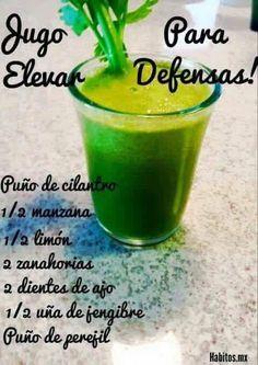 Jugo verde para aumentar las defensas - Green juice to increase defenses Healthy Juices, Healthy Smoothies, Healthy Drinks, Healthy Tips, Healthy Recipes, Healthy Food, Yummy Drinks, Vegan Food, Workout Bauch