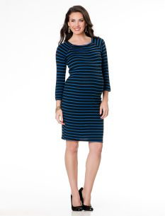 Striped: Motherhood Maternity Elbow Sleeve Button Detail Maternity Dress