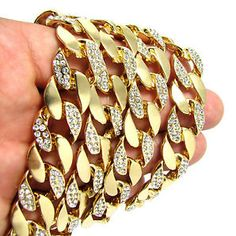 """Men's 14k gold plated iced out zirconia 36"""" rappers miami cuban 16mm link chain"""