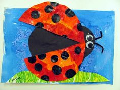 Artsonia Art Museum--Kindergarten Eric Carle Inspired Ladybugs  Recreation here: http://www.iheartcraftythings.com/2012/05/eric-carle-inspired-lady-bug.html