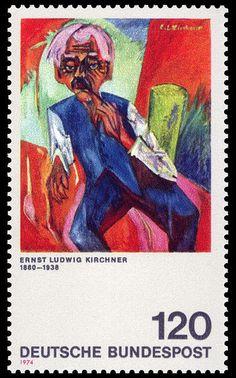 Ernst Ludwig Kirchner - Old Farmer, stamp.
