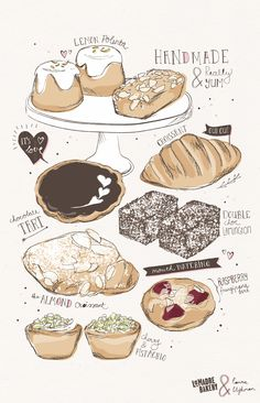 Style - Sketched line art with watercolor fill in that goes outside the lines… Dessert Illustration, Illustration Art, Cute Food, I Love Food, Food Log, Food Painting, Dessert Drinks, Desserts, Food Journal