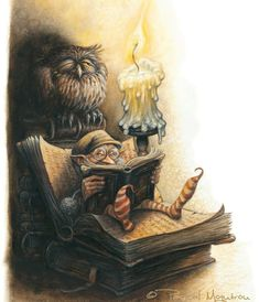 """Cozy little borrower's-style gnome nook! """"What reads the gnome? (illustration by: Pascal Moguerou)"""" Art And Illustration, Fantasy World, Fantasy Art, Kobold, Fairy Art, Magical Creatures, Gnomes, Illustrators, Book Art"""