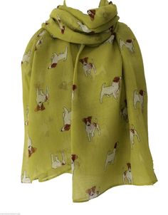 A large yellow scarf with a Jack Russell dog print long and wide light weight and very soft Measurements length approx 69 inch 175 cm Width approx 39