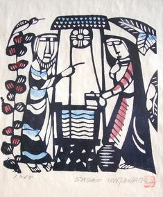 First Scrutiny - Image - The Woman at the Well - Sadao Watanabe Spiritual Images, Religious Images, Religious Art, Christian Images, Christian Art, Kandinsky, Worship Images, Images Of Faith, Spiritual Paintings