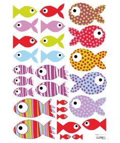 Lot stickers Poissons stickers) - Lilipinso and Co Animal Crafts For Kids, Diy Crafts For Kids, Arts And Crafts, Paper Crafts, Plastic Fou, Fish Crafts, Under The Sea Party, Animal Coloring Pages, Fish Art