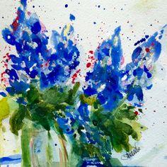 """""""Bluebonnets in Jars"""" by Texas Watercolor Artist, Karen Scherrer"""