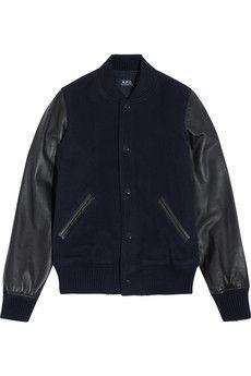 A.P.C. Atelier de Production et de Création Teddy Rizzo II leather-paneled wool-blend bomber jacket | NET-A-PORTER
