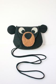 BLACK BEAR felt purse kids bag girl's and by DesignedbyRonela