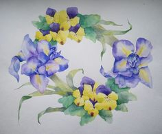 watercolor. flower wreath.