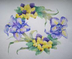 watercolor. flower wreath.