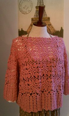 Ravelry: p.114 Join-as-you motif pullover pattern by Mariko Oka (岡まり子)