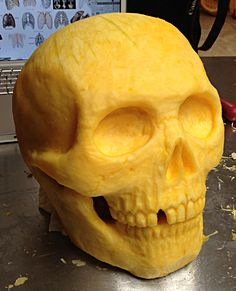 anatomically correct human skull, with lots of details, and one tooth missing, carved from a pumpkin, skeleton pumpkin ideas Skeleton Pumpkin, Skull Pumpkin, Pumpkin Art, Pumpkin Faces, Pumpkin Ideas, Pumpkin Designs, Pumkin Carving, Amazing Pumpkin Carving, Food Carving