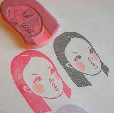 Hand carved rubber stamp 3/10, via Flickr.
