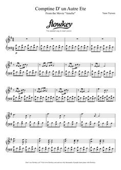 Yann Tiersen : Comptine d'un autre été aka Amelie theme - Free Piano Sheet Music from flowkey. Learn piano the simplest way with flowkey.com/en & find the rest of the sheet - try now for free! #piano #sheet #music #education