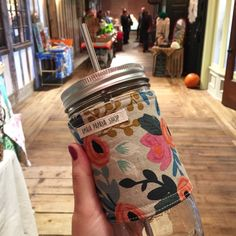 Mason Jar Tumbler, Rifle Paper, Steel Straw, Reusable Cup to Go, Mason Jar Sleeve, Cozy, Mason Jar with Straw, Gift for Her, Drinking Glass