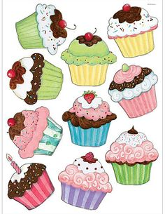 Cupcakes Accents from Susan Winget Cupcake Art, Cupcake Clipart, Cupcake Drawing, Diy And Crafts, Paper Crafts, Teacher Created Resources, Classroom Walls, Digi Stamps, Recipe Cards