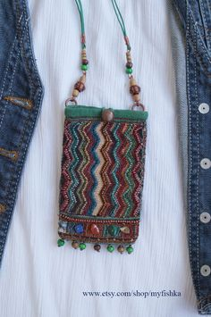 Classic Boho Jewelry selected just for you Fabric Necklace, Fabric Jewelry, Boho Necklace, Boho Jewelry, Pendant Necklace, Jewellery Box, Hippie Purse, Medicine Bag, Textiles