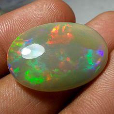 19.1 Carat 29x20.8 mm 100 % Natural Ethiopian Opal Oval Shape Cabochon Untreated #AquamarineTraders