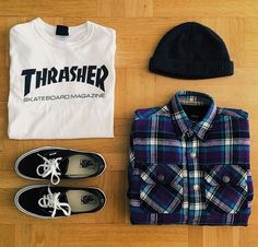 White thrasher tshirt + beanie + check shirt + vans