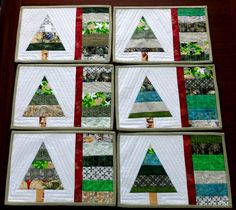 Set of 6 Christmas tree quilted placemats. Xmas handmade patchwork placemats, Christmas table decor - pinned by pin4etsy.com